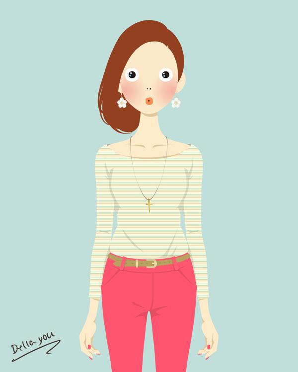 かわいいファッション コーデ イラスト